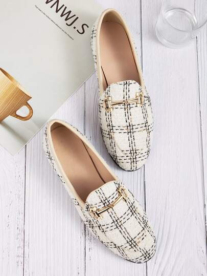 Metal Detail Slip On Tweed Flat Loafers
