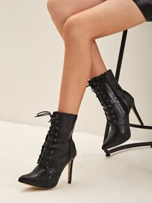Croc Embossed Stiletto Boots