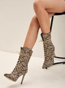 Point Toe Snakeskin Lace-up Front Boots