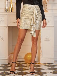 Ruffle Draped Front Sequin Skirt