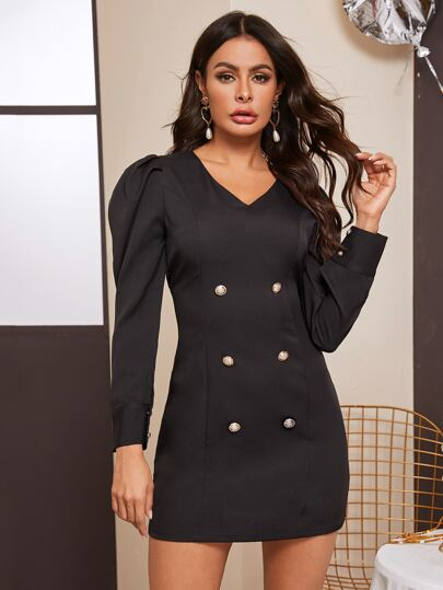 Solid Button Detail Puff Sleeve Dress