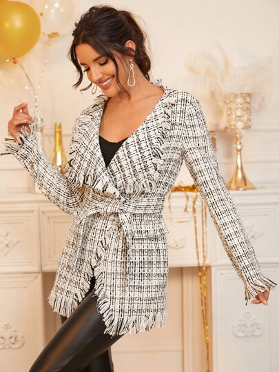Raw Trim Self Belted Tweed Wrap Waterfall Coat