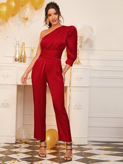 One Shoulder Gigot Sleeve Ruched Waist Silky Jumpsuit