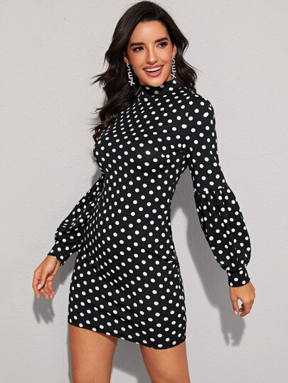 Mock Neck Lantern Sleeve Polka Dot Bodycon Dress