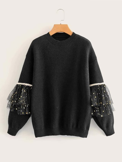 Contrast Mesh Sleeve Drop Shoulder Sweater
