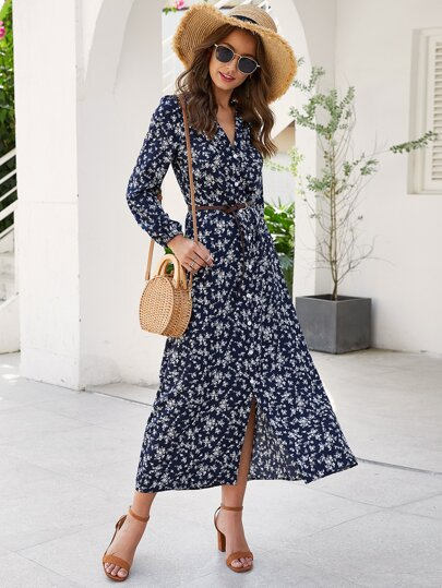 Floral Print Button Through Belted Dress