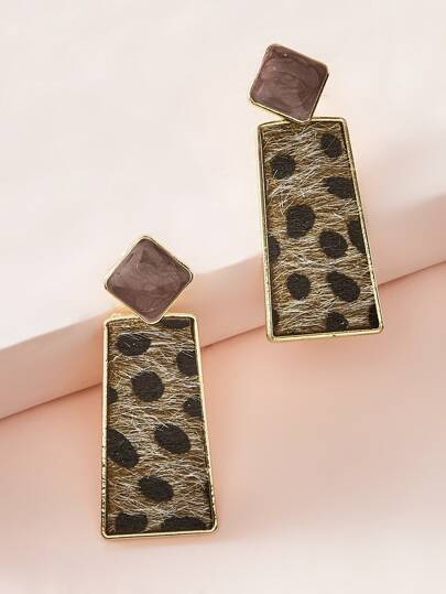 1pair Leopard Geometric Drop Earrings