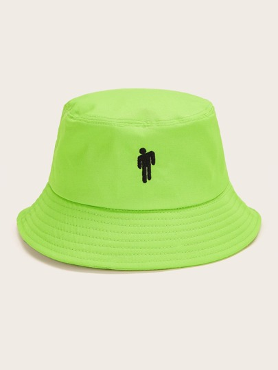 Figure Embroidery Neon Green Bucket Hat