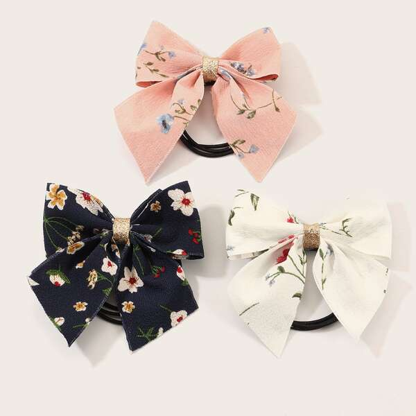 3pcs Girls Ditsy Floral Pattern Hair Tie, Multicolor