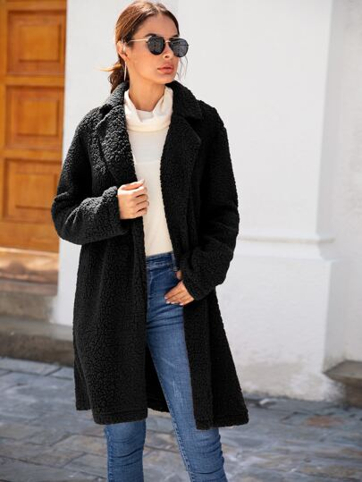 Solid Open Front Teddy Coat