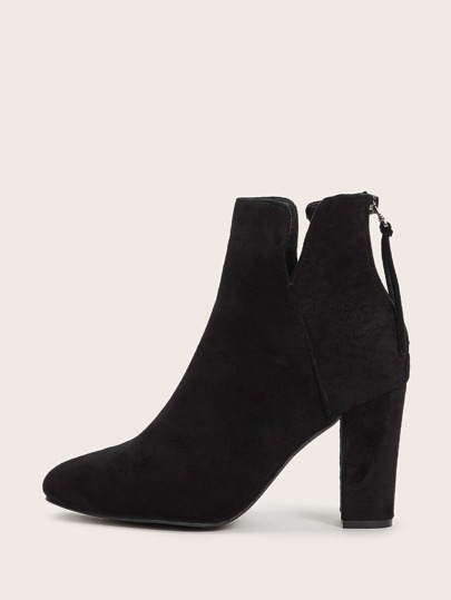 Side Cut Zip Back Suede Chunky Boots