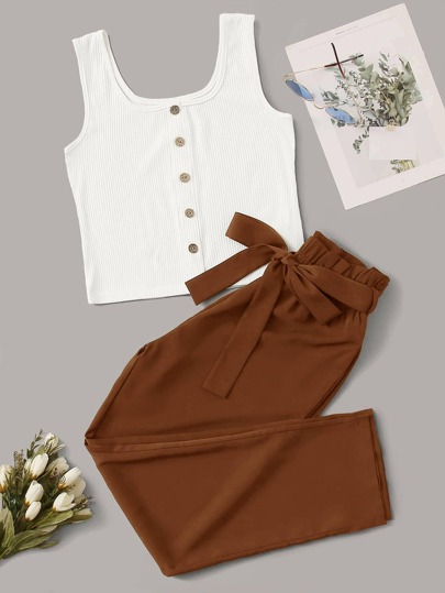 Button Front Tank Top & Belted Pants Set