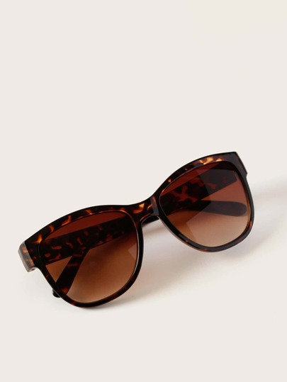 Tortoiseshell Frame Flat Lens Sunglasses With Case