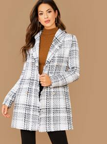 Frayed Trim Double Breasted Plaid Tweed Coat