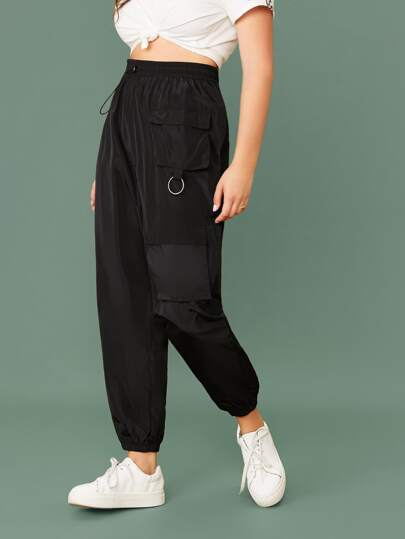 Plus Drawstring Waist Flap Pocket Cargo Pants