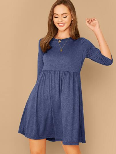 Heather Knit Flare Tee Dress