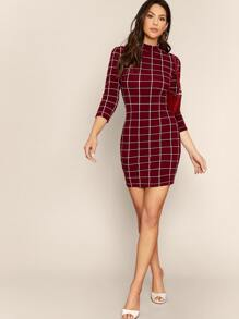 Mock-neck Grid Bodycon Dress