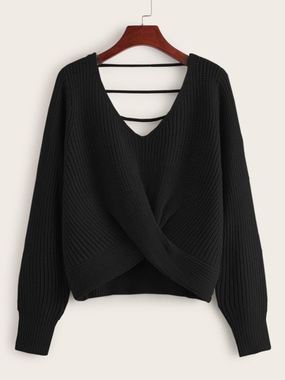 Crossover Double V-neck Ribbed Knit Sweater