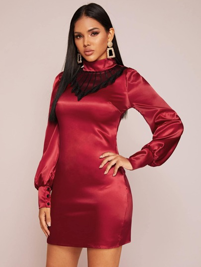 Lace Insert Puff Sleeve Satin Fitted Dress