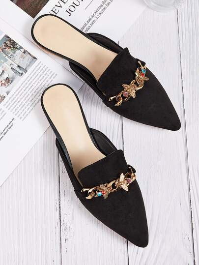Point Toe Rhinestone Decor Flat Mules