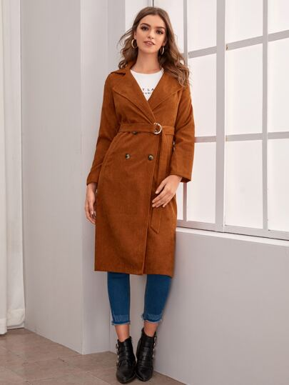 Solid Button Front Belted Corduroy Coat