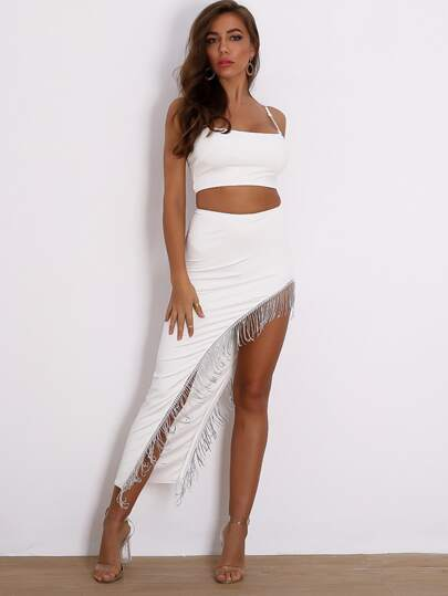 Joyfunear Crop Cami Top & Rhinestone Fringe Asymmetrical Skirt Set
