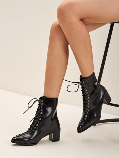 Lace-up Front Point Toe Chunky Boots