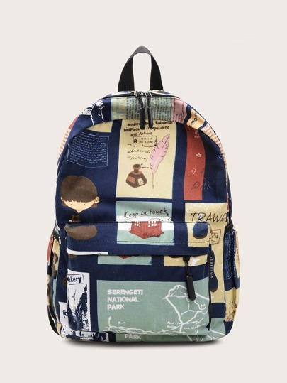 Random Graphic Pocket Front Backpack