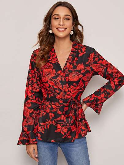 Floral Print Belted Wrap Blouse