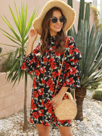 Floral Print Layered Sleeve Dress
