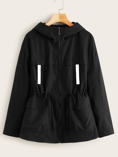 Zip Up Drawstring Waist Hooded Utility Coat
