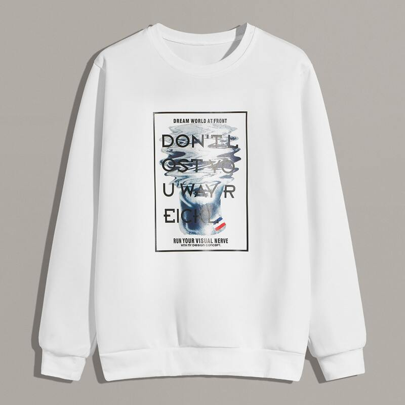 Guys Letter & Figure Graphic Sweatshirt, White