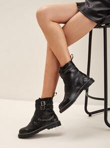 Buckle Decor Ankle Boots