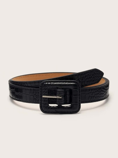 Croc Pattern Geometric Buckle Belt