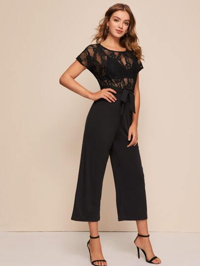 Sheer Lace Bodice Belted Jumpsuit