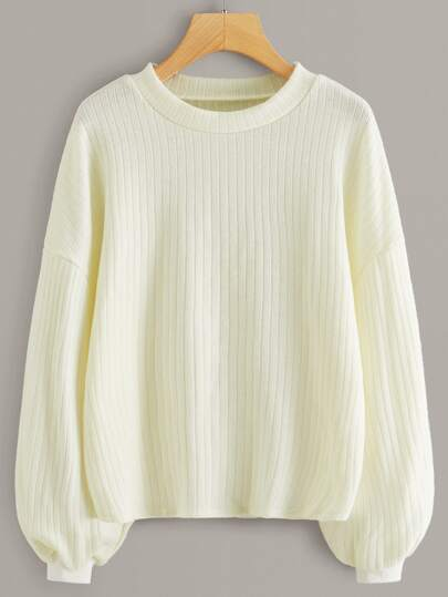 Ribbed Drop Shoulder Solid Sweater