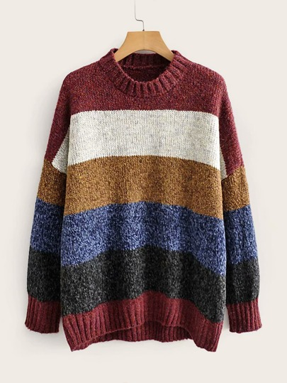 Drop Shoulder Multi-stripe Sweater