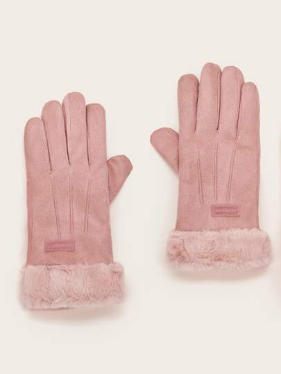 1pair Fluffy Trim Suede Gloves