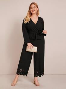 Plus Surplice Neck Self Tie Laser Cut Jumpsuit