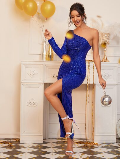 One Shoulder Split Thigh Sequin Dress