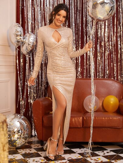 Cut Out Front Ruched Split Thigh Sequin Dress