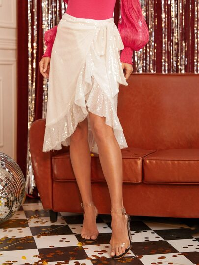 Ruffle Trim Wrap Tie Side Sequin Skirt
