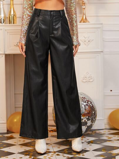 Zipper Fly Slant Pocket PU Palazzo Pants