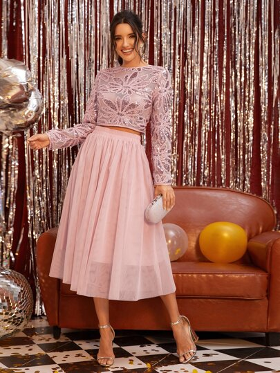 Floral Sequin Sheer Top & Mesh Overlay Skirt Set