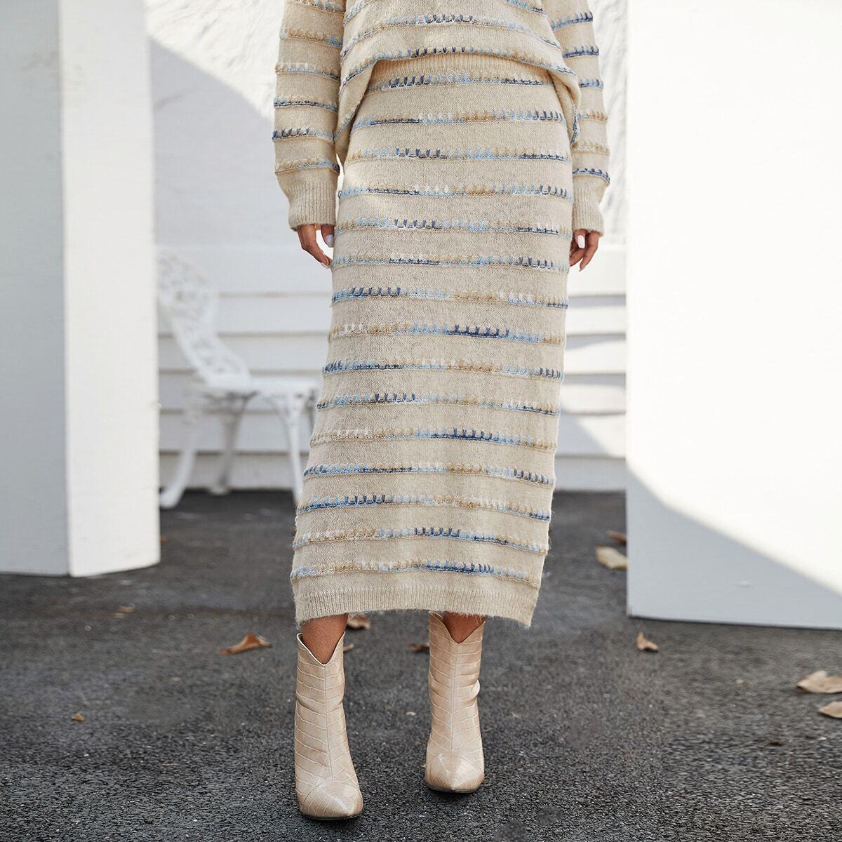Вязаная юбка с красочной стеганой отделкой