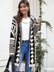 Open Front Geo and Striped Hooded Sweater Coat