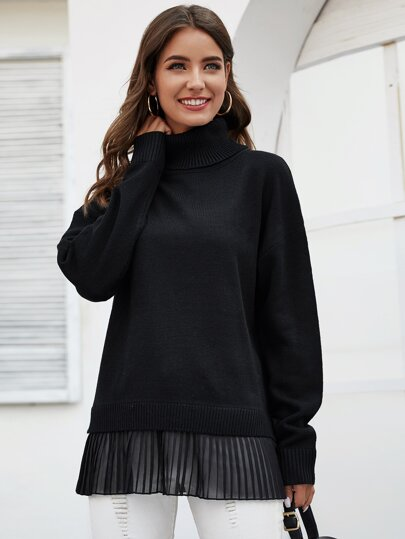 Turtle Neck Drop Shoulder Pleated Hem Sweater