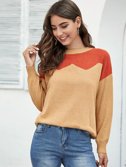 Drop Shoulder Colorblock Sweater