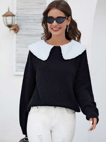 Contrast Frill Trim Collar Drop Shoulder Jumper