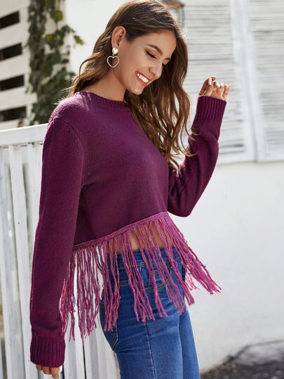 Fringe Hem Solid Sweater